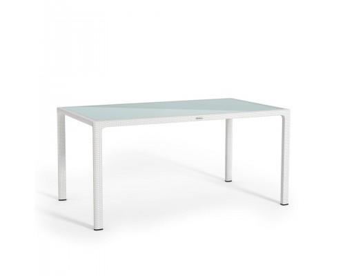Стол из ротанга 160*90 белый Lechuza 10930