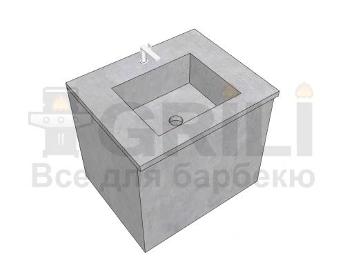 Мойка из бетона одинарная закрытого типа