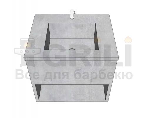 Мойка из бетона одинарная с полкой открытого типа