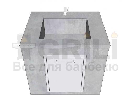 Мойка из бетона одинарная с выдвижным ящиком