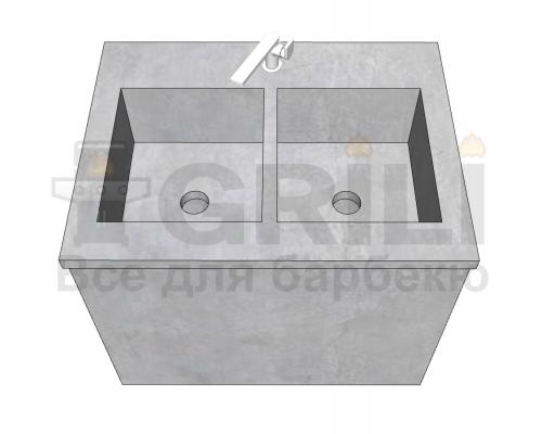 Мойка из бетона двойная закрытого типа