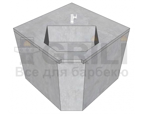 Мойка из бетона угловая