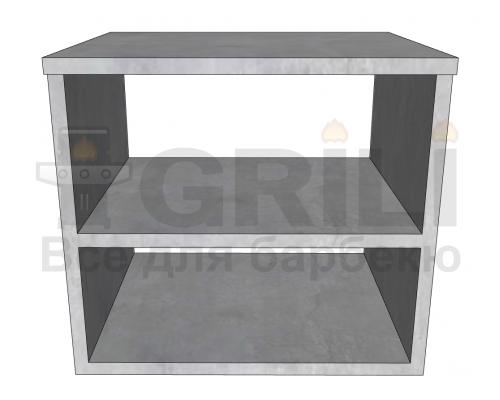 Бетонный кухонный модуль с полкой открытого типа