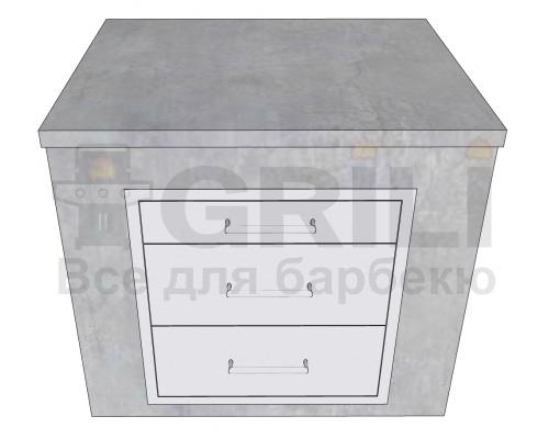 Бетонный кухонный модуль с тремя выдвижными ящиками