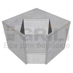 Бетонный кухонный угловой модуль под угольный гриль