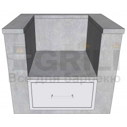 Бетонный кухонный модуль под угольный гриль с выдвижным ящиком