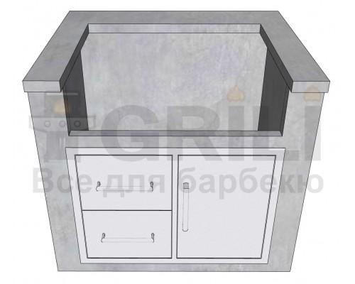 Бетонный кухонный модуль под газовый гриль с выдвижными ящиками