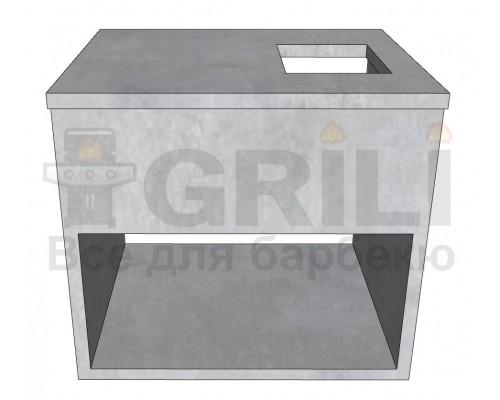 Бетонный кухонный модуль под газовою конфорку с полкой открытого типа