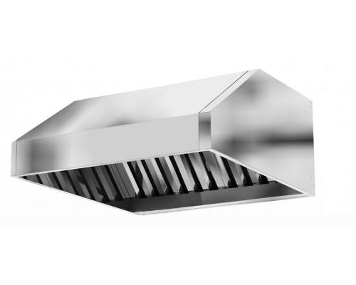 Зонт вытяжной вентиляционный с фильтрами лабиринтного типа 2100 х1000 х 350 (цельно сварная конструкция)