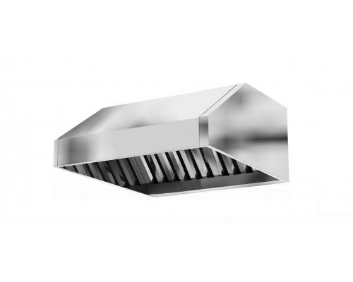 Зонт вытяжной вентиляционный с фильтрами лабиринтного типа 1700 х1000 х 350 (цельно сварная конструкция)