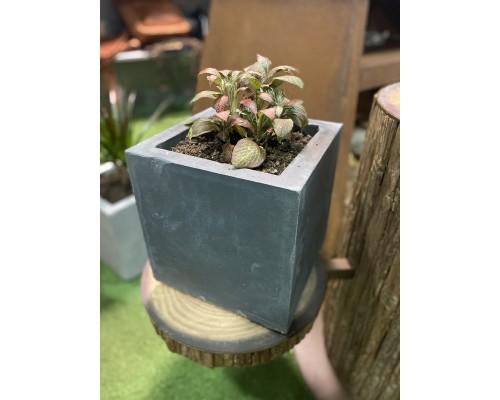 Вазон из бетона для растений, темный (28*28*28)